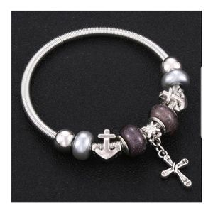 💜Anchor / Cross Bangle Charm Bracelet